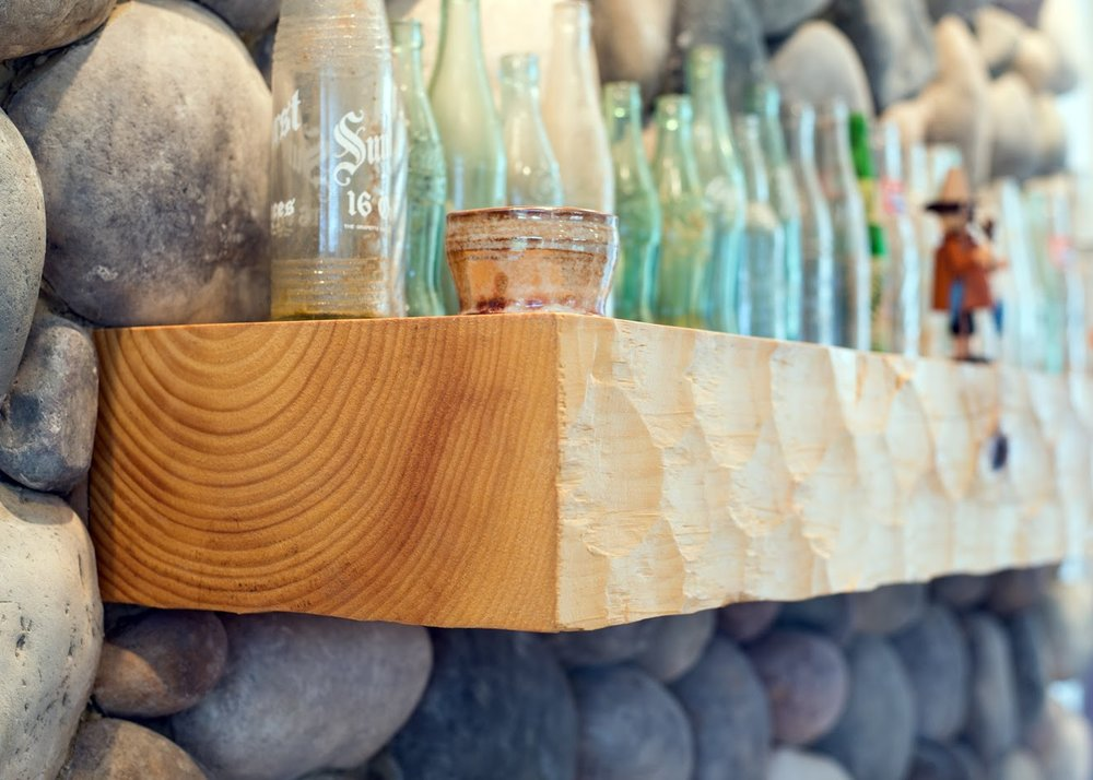 Textured Timber Fireplace Mantel