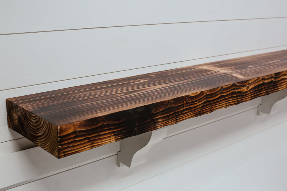 Textured & Toasted (Shou Sugi Ban) Timber Mantel from Water's Edge Woods