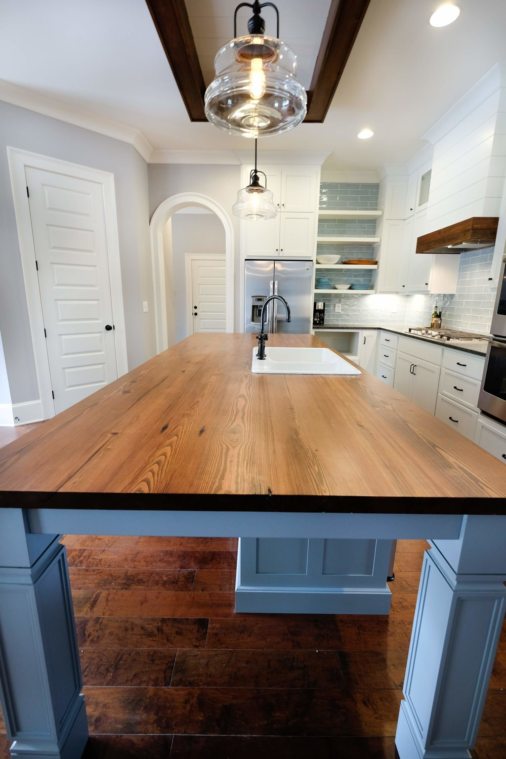 Reclaimed Heart Pine Countertop with Dark Stain