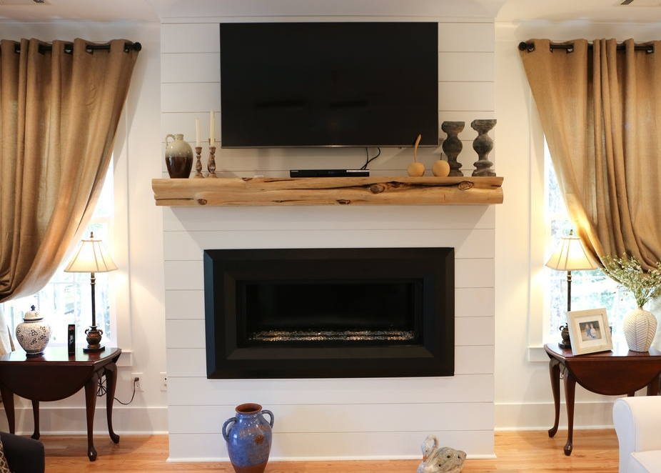 Live-edge Timber Mantel with Blonde Finish