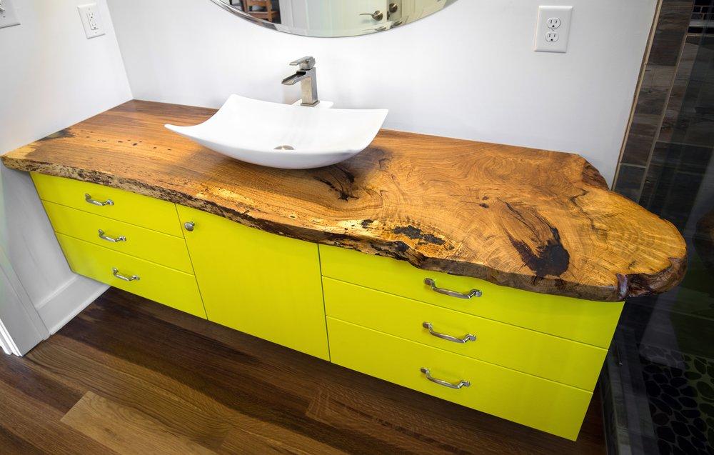 Bathroom Vanity with a Live-edge Black Walnut Countertop