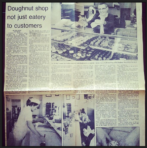 "Newspaper Article -- ""Doughnut shop not just eatery to customers"""