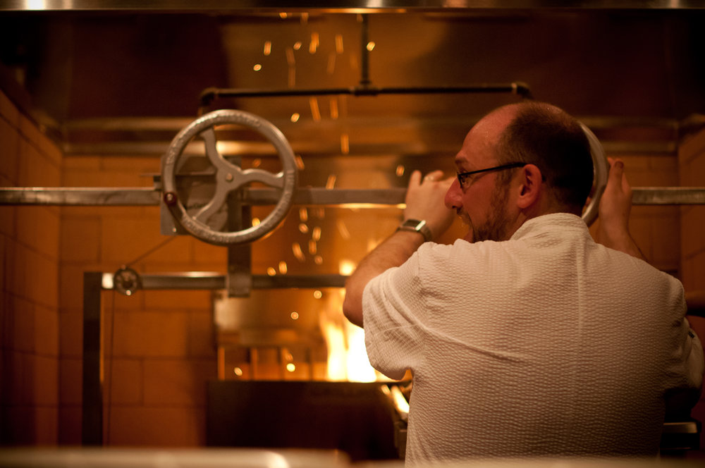 This is the first night that grill was fired up to cook at Ox.  PFA was there.  Photo by Dina Avila