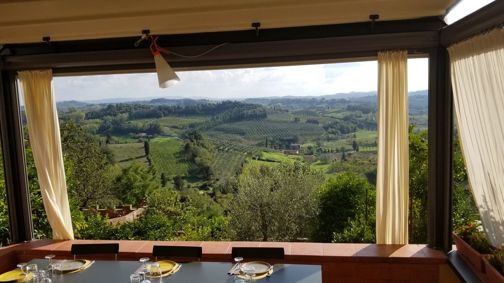 The view from our lunch in Tuscany