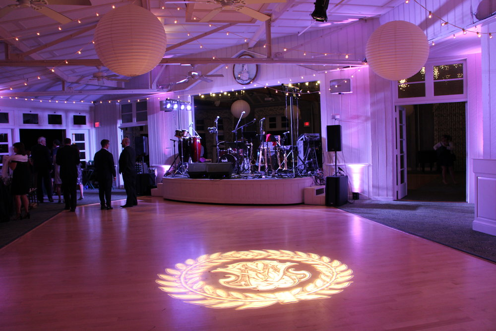 Custom Glass Monogram and Uplighting at The Dunes Club, Narragansett