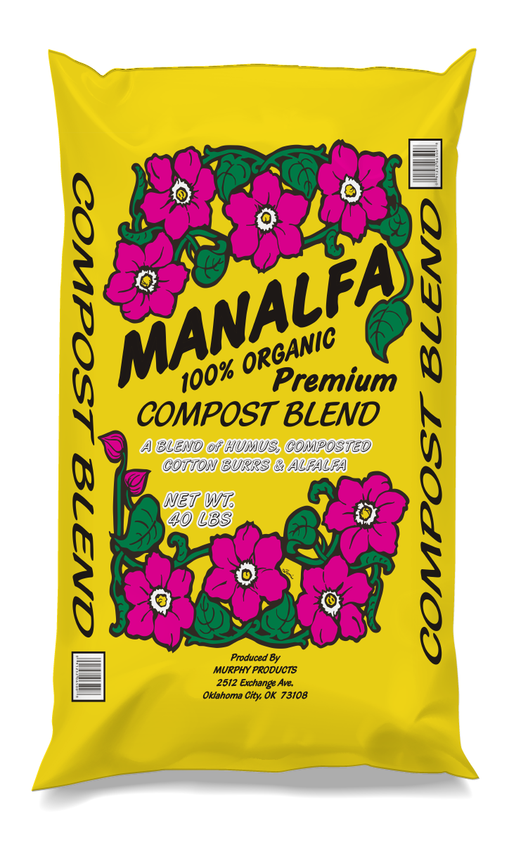 Manalfa Compost Blend - This mix of alfalfa, cotton burr and manure is a nutrient-rich soil amendment. Use this compost blend to heal over-used soils.