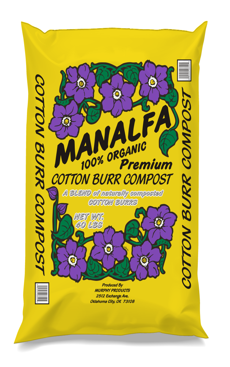 Manalfa Cotton Burr Compost - Consisting of cotton burr hulls that are aged and composted to provide a nutrient rich soil additive. Our Cotton Burr compost is a proven way to add more drainage, nutrient retention, and water absorption qualities to any planting environment, without causing nitrogen tie up.