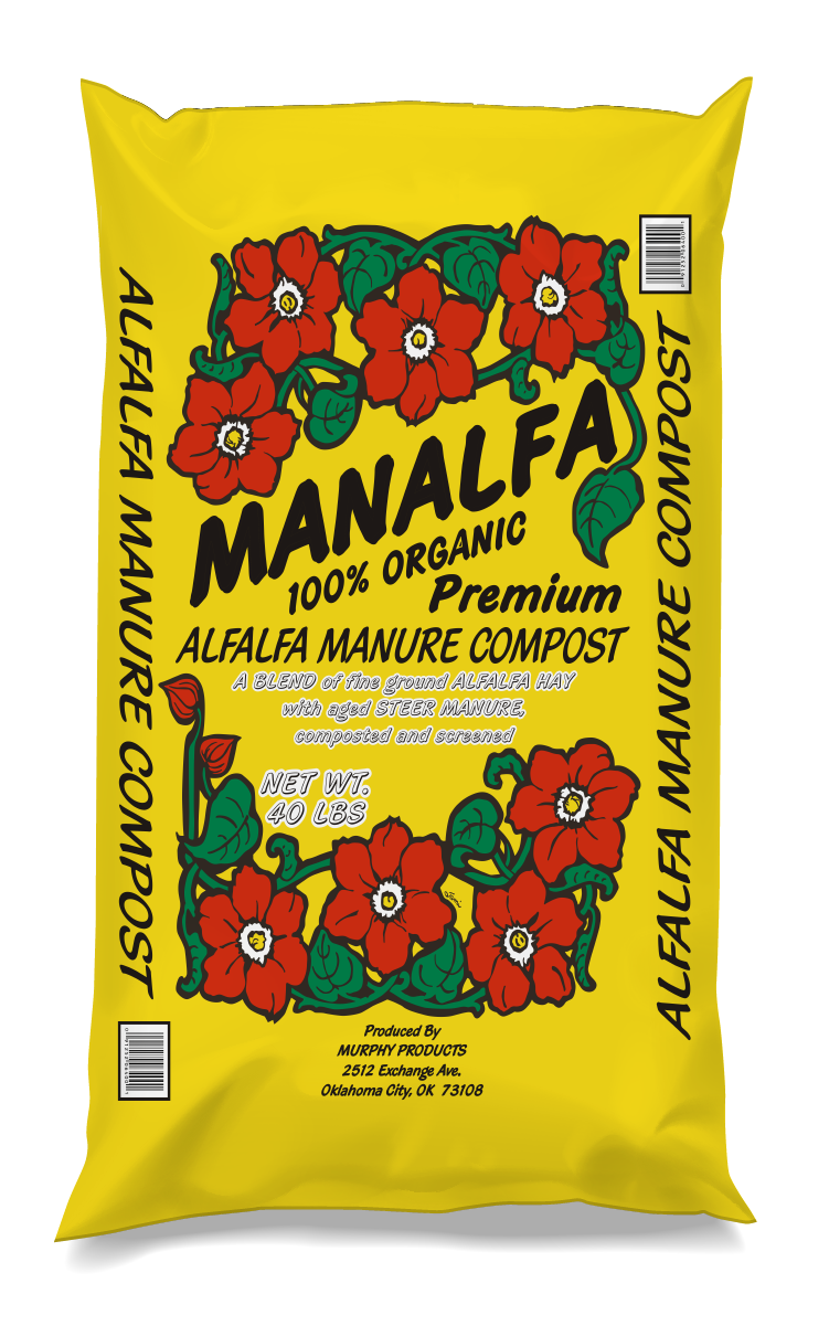 Manalfa Compost - With nitrogen, iron, calcium, and other minerals, Alfalfa can replenish depleted soils quickly and efficiently. Fully composted manure is added to the blend to help improve soil tilth and drainage.