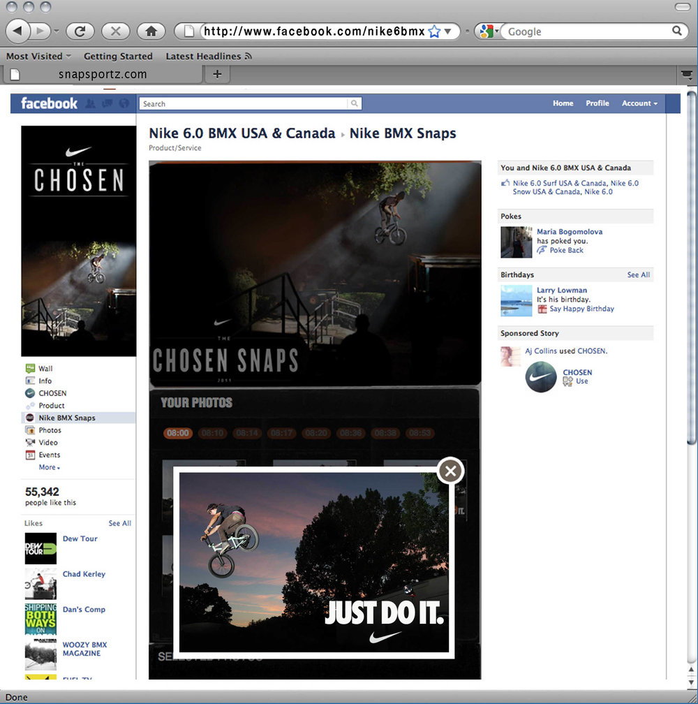 Snapsportz's embedded Facebook iFrame for Nike's Chosen tour. Once users liked Nike's Chosen Facebook outlet, participants could then begin sharing their experience with the brand with their network.