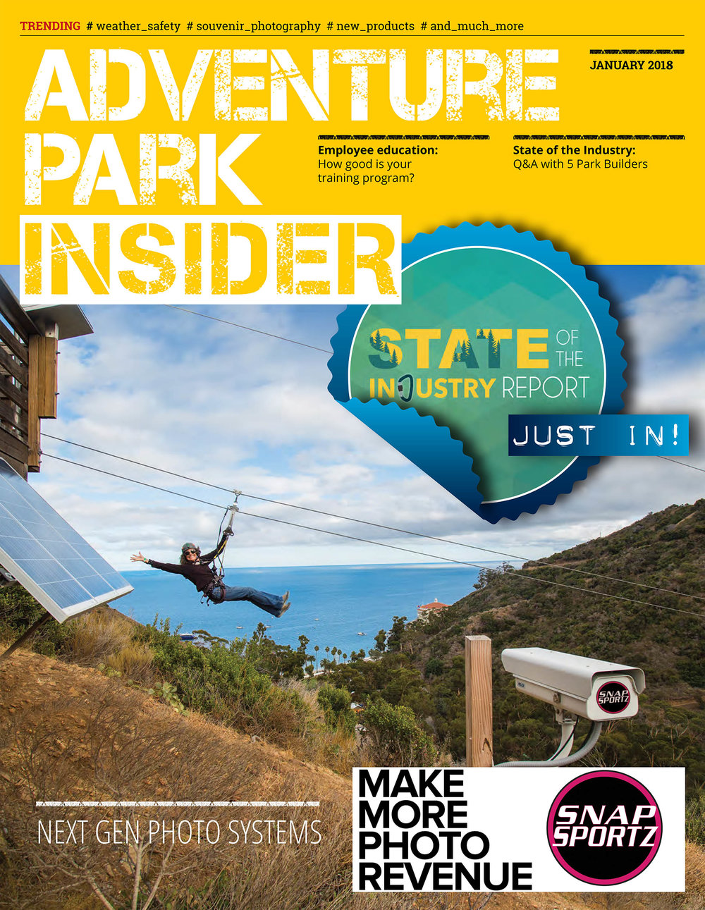 Snapsportz system at Santa Catalina Eco Tours on the cover of Adventure Park Insider.