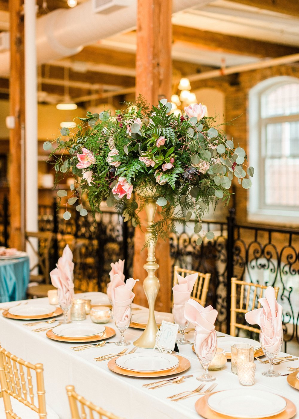 Photo by Annie Timmons Photography, Florals by Jenny's Projects, Linens & Table Settings by Party Reflections