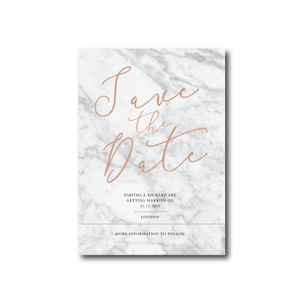 Modern Marble Save The Date - A6