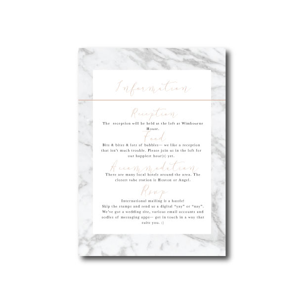 Modern Marble Information Card - A6