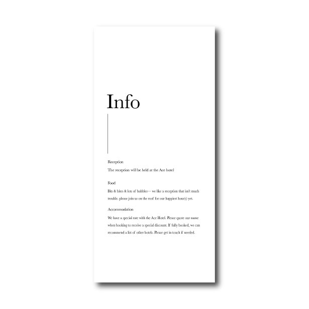 Minimalism Information Card - DL
