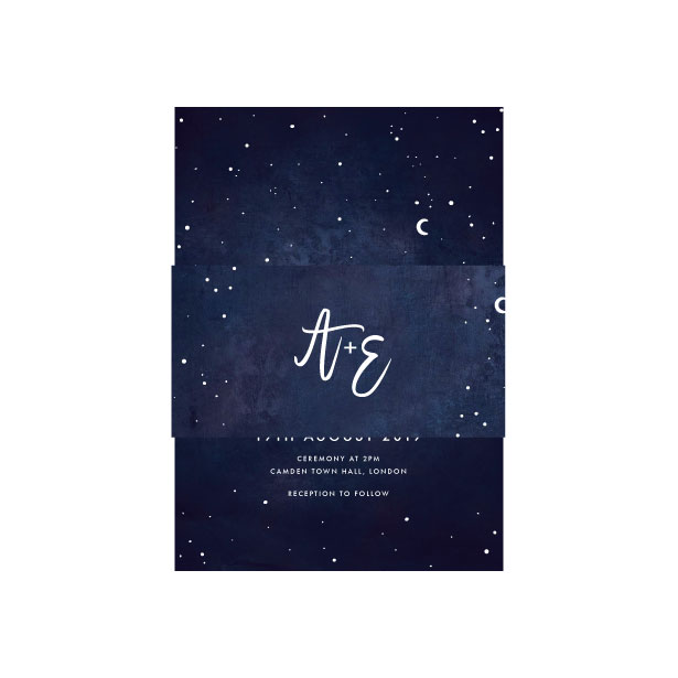 Celestial Star Invitation with Belly Band - A6 or A5