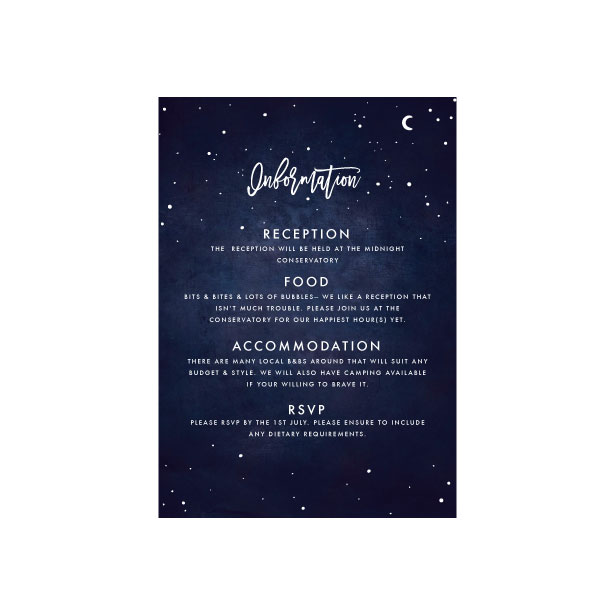 Celestial Star Information Card - A6