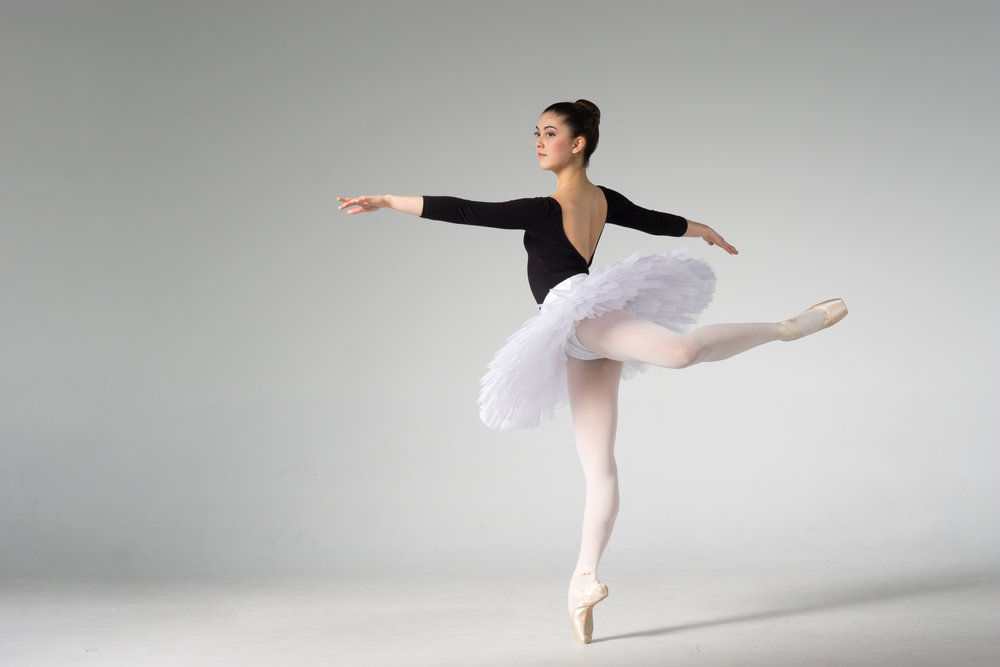 ballet dancer in tutu on pointe