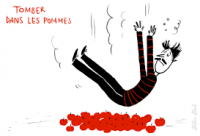 tomber dans les pommes : to faint bizarre french idiom used in the common language