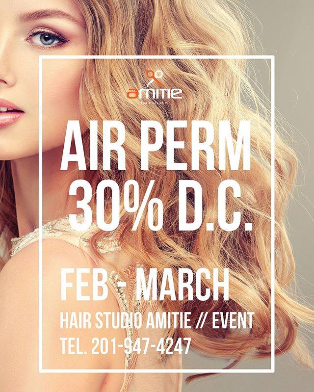 🌟추위를 이겨내고 에어펌으로 기분전환해보세요! 2-3월달 아미띠에 에어펌 30% 할인 :D . . Hair Studio Amitie Mon-Sat 10:00am - 8:00pm Tel: 201-947-4247