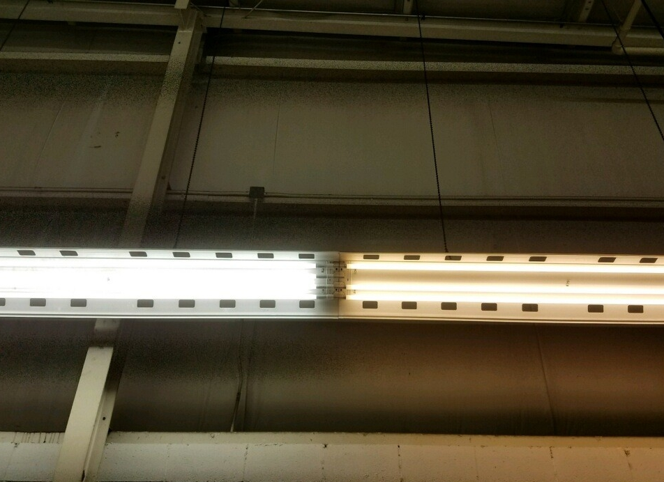 Half LED (left) - Half fluorescent (right)