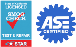 STAR smog check station and ASE certified logo