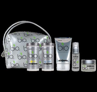 Set includes regen (capsules), relax (capsules), cleanser, serum and cream plus FREE bio travel bag.