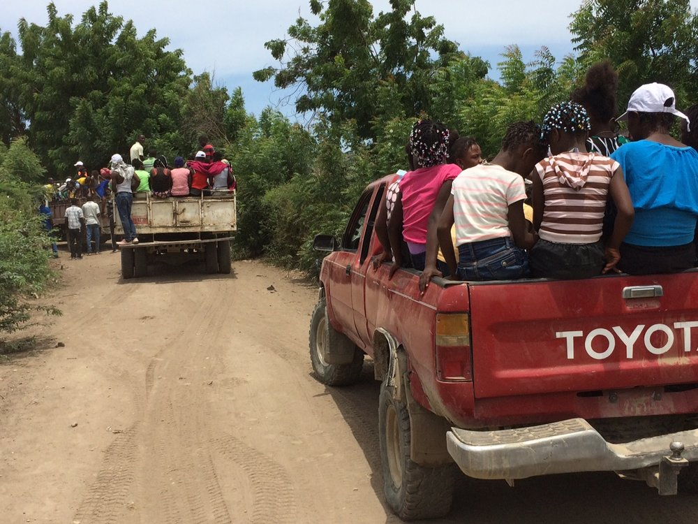 The children where brought to the Bouflette children's camp via trucks from across the region.