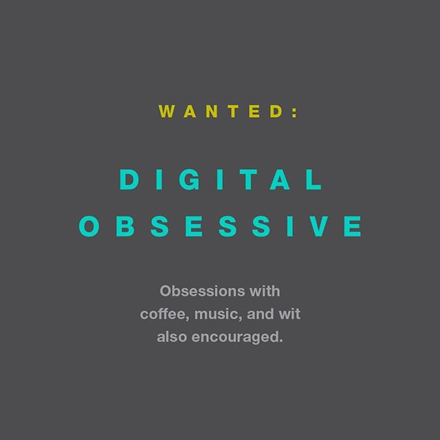 That's right. We're hiring. Are you a digital communications master? Then you may be a good fit! 1-2 years experience in digital marketing a must: social media and ads management, engagement, web updates, analytics. Content editing, mgmt,  experience a plus. Shoot us an email: info@atwelldesign.com.