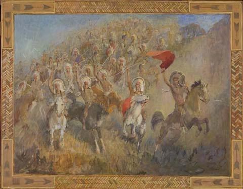 Minerva Teichert Art bulls rushing