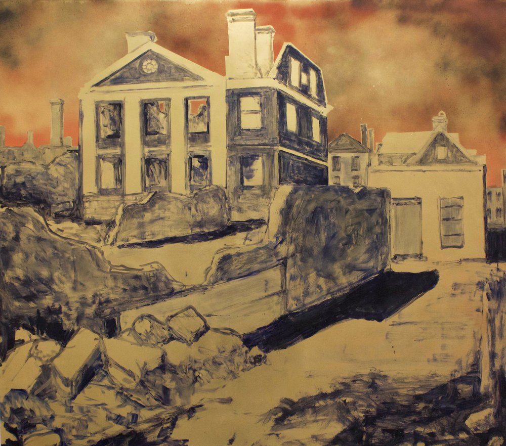 """Ruins of the Pinckney Mansion, Charleston, 1865, SC,"" 2017, Oil and Spray Paint on Panel, 49.75""x43.25"""