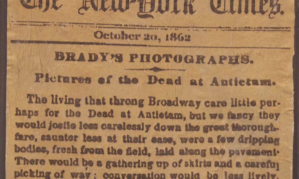 "(detail) ""The New York Times, October 20, 1862: Pictures of the Dead at Antietam,"" 2017, Ink Transfer and Spray Paint on Panel, 9.25""x 24"" (each)"