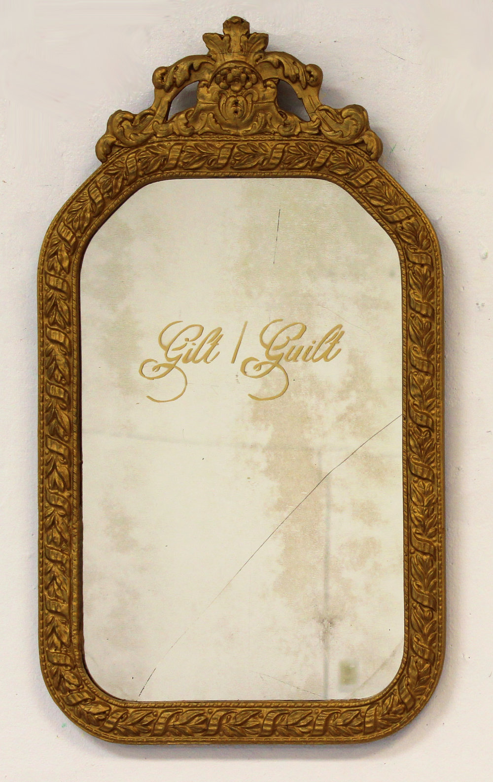 """Dilemma,"" Spray Paint on Refurbished Gilt Mirror, 2016"