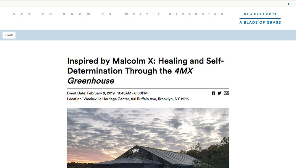 Inspired by Malcolm X: Healing and Self-Determination Through the  4MX Greenhouse   http://www.abladeofgrass.org/events/inspired-by-malcolm-x/