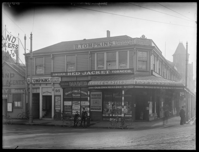 Heywood's Corner, with Woodward & Co standing proudly on the corner, circa 1911.