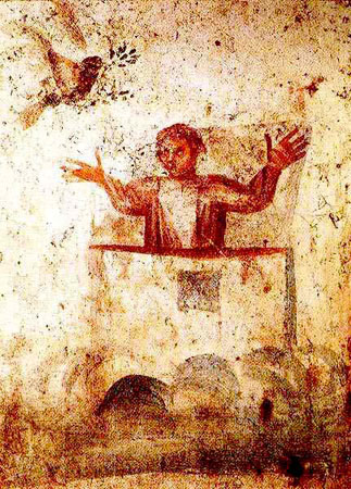Noah and the dove, early Christian catacomb near Rome, 3rd-4th centuries.