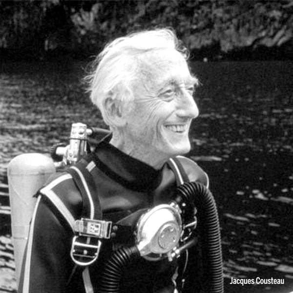 "In 1945 Cousteau founded the French Navy's Undersea Research Group. and in 1950, he modified a WWII wooden hull British Yard Minesweeper into the research vessel named  Calypso . This became his laboratory until 1996.  Calypso  carried advanced equipment, including one- and two-man mini submarines developed by Cousteau, diving saucers and underwater scooters. The ship was also fitted with a see-through ""nose"" and an observation chamber to observe below the waterline, and was modified to house scientific equipment and a helicopter pad. The Calypso underwater camera (also concieved by Cousteau) was named after this ship.  1942 until his death he produced hundreds of documentaries and starred in several television series that were shown all over the world. He was an inspiration to millions with his underwater adventures and philanthropic spirit. Not a religious man, but he is often quoted regarding what he had witnessed in the waters as being evidence of the existence of God."