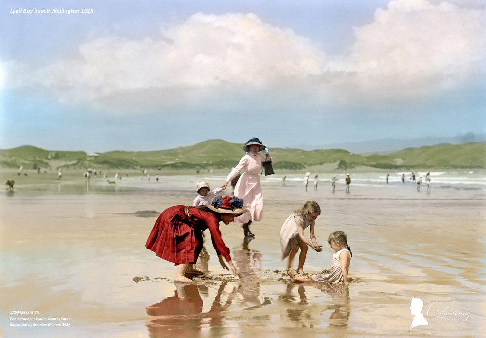 Lyall Bay beach Wellington - Colourising by Brendan Graham