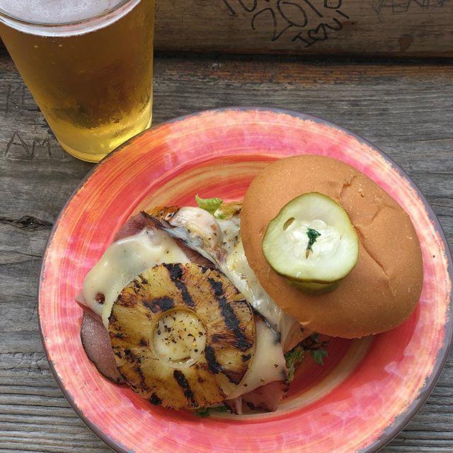 Back by popular demand the Hawaiian Chicken Sandwich, teriyaki glazed chicken breast, Swiss cheese, ham, and grilled pineapple 🍍 🌺 $10.95