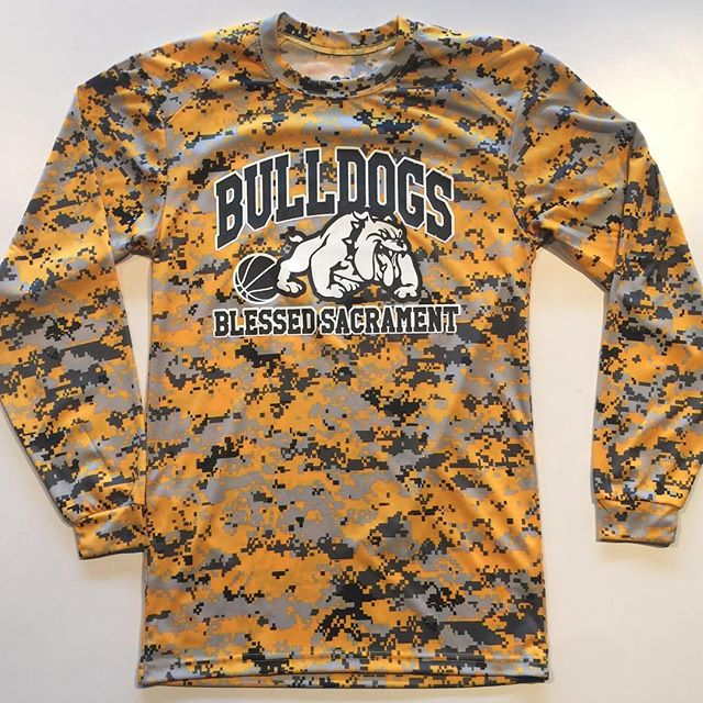 Two color print on Digital Camo Performance Long Sleeves for Blessed Sacrament Basketball #BSS #EriePA #Camo #Basketball