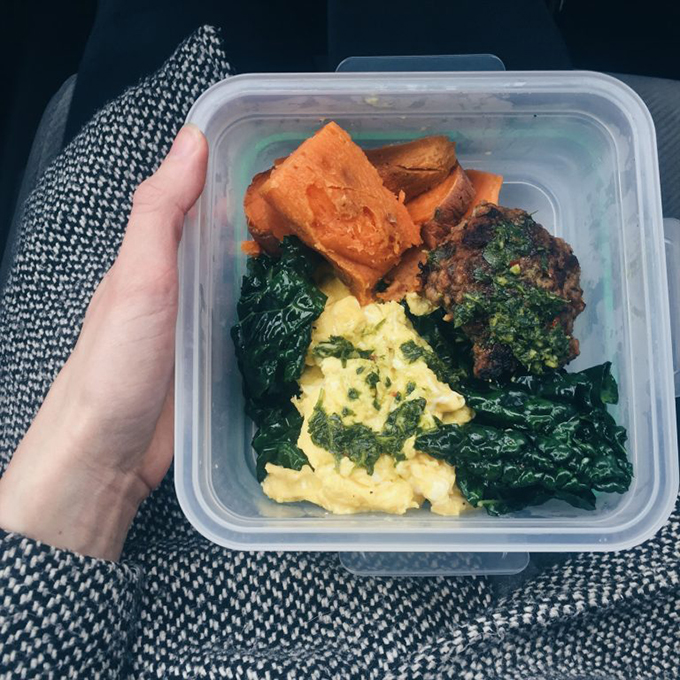The prepped lunch that saved the day (and my Whole30): homemade apple sage pork sausage, pastured eggs with chimichurri, kale cooked in ghee, roasted sweet potatoes.