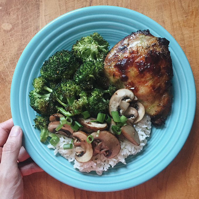 Asian chicken thighs by Nom Nom Paleo with CSA broccoli, mushrooms, and jasmine rice cooked in chicken broth