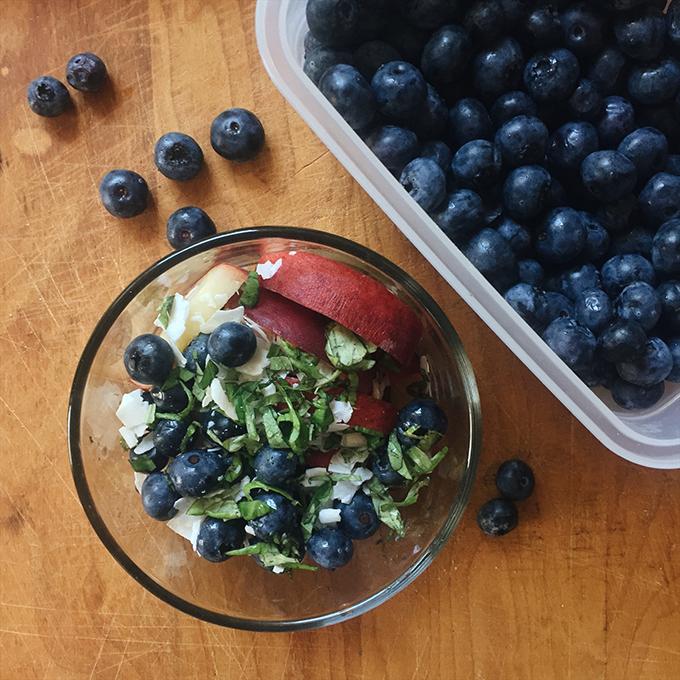 Peach blueberry basil salad!