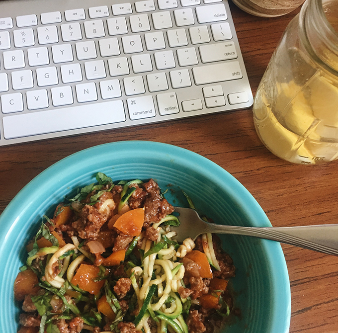 Zoodle spaghetti with with fresh basil and grassfed beef from  Two Sparrows Farm