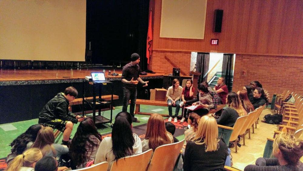 Evan speaking at Grice Middle School