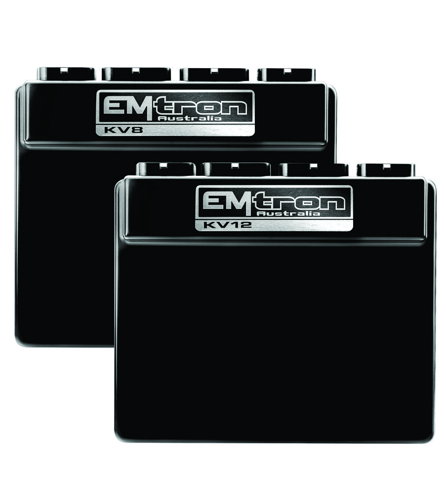 Emtron KV series - Emtron's KV8 and KV12 are wire in ECU's with extreme flexibility. Industry leading I/O count will ensure you do not have to make any sacrifices when configuring your engine and vehicle. These ECU's will support up to 8 Channels on the KV8 and 12 Channels on the KV12 fully sequential Fuel and Ignition.Every KVECU is housed in a durable billet Aluminium enclosure and includes up to 64Mb permanent memory for on board logging and oscilloscope function, DBW control, twin Lambda controllers, twin digital Knock control, Ethernet communications and 3 axis G-force sensing to name a few.