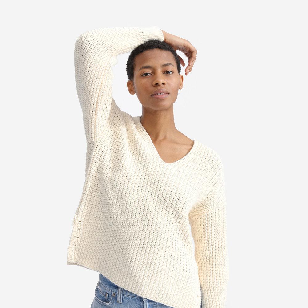 Textured Cotton V-Neck