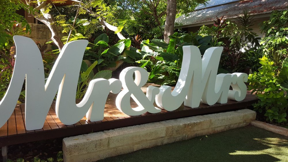 Mr & Mrs Sign:$300 - Set the scene with these 1.2m-high signs. The cost includes delivery, set up and pack down.