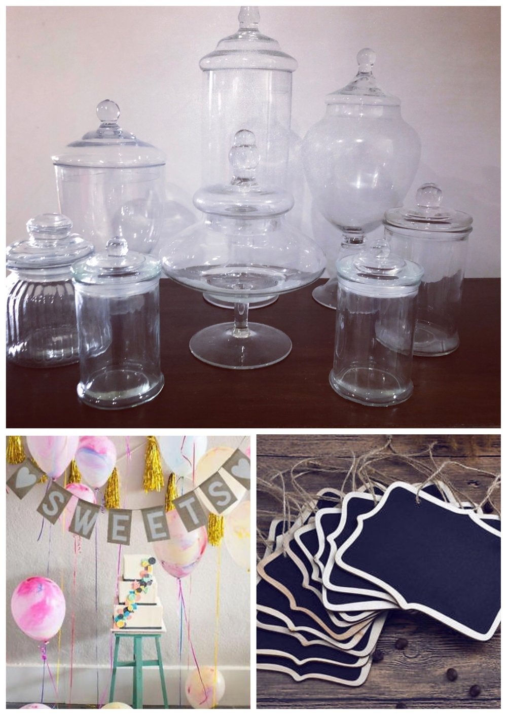 Create a delicious sweets table - Our range of lolly jars, chalkboards and other decorations will help you create a beautiful setting for your wedding or special event