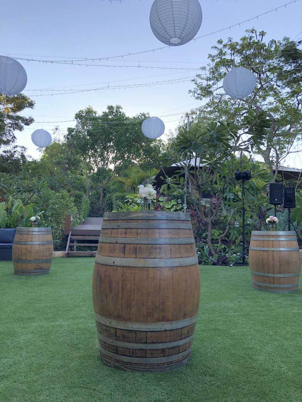 Single wine barrel: $50 - 5 availablePerfect for dry bars, cakes, entrance to reception or ceremony. Match with our grey bar stools