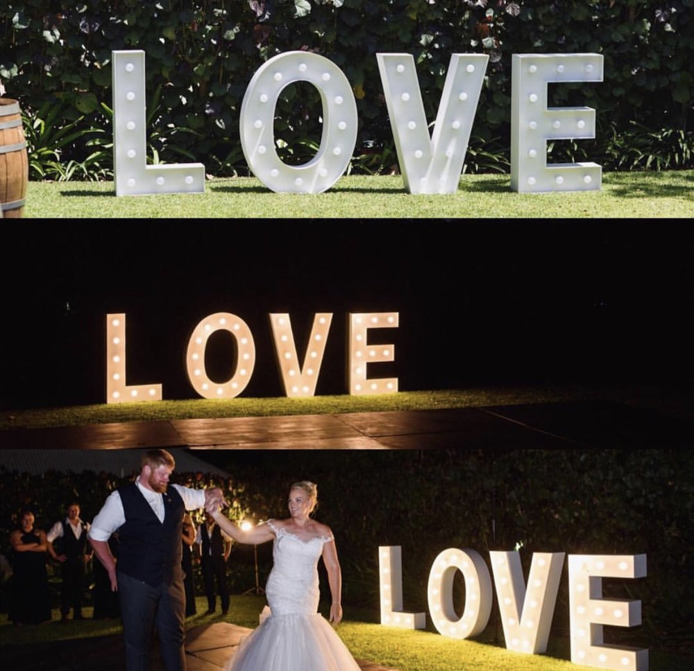 Love Letter Lights: $600 - These 1m-high letters add an extra 'wow'. The cost includes delivery, set up and pack down.
